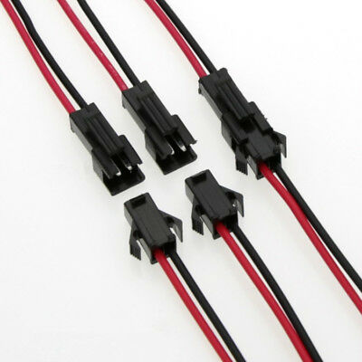 10 Sets 2.54 SM 2-Pin 2P Connector plug Male / Female with 10cm Wires Cables