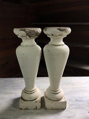 Two(2) Large Reclaimed Wood Baluster SHABBY Candle Stand Antique White 448-17