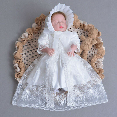 Newest Girls Baptism Gown Exquisite Embroidery Christening Outfits Hat+Dress