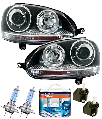 Coppia SET KIT Fari Fanali Anteriori Tuning VW Golf 5 V + H7 OSRAM + motorino