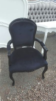 Black French Loius Style Arm Chair (2 Available) Delivery Avail