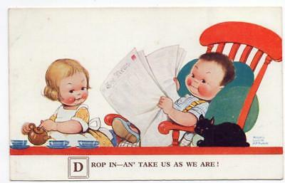 MABEL LUCIE ATTWELL  Drop In - Take Us as we Are   No 2417   Postcard