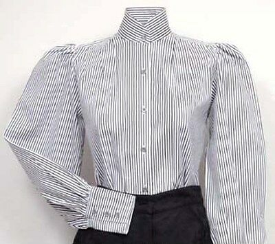 FRONTIER CLASSICS Black & White Striped Pioneer Blouse Dickens Steampunk SASS