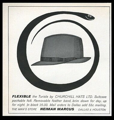 1961 Churchill Turista men's hat cute snake art Neiman Marcus vintage print ad
