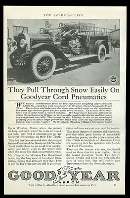 1919 Winslow Maine fire engine truck photo Goodyear Tire trade print ad