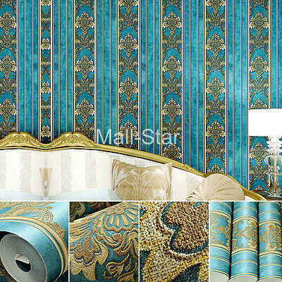 33ft 3D Wallpaper Retro Blue Wall Pattern Classical Noble Luxurious Environmenta