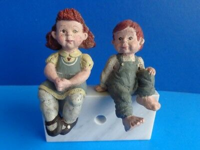 Pair Of Sarah's Attic Shelf Sitting Children- Red Heads