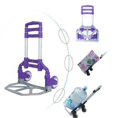Aluminium Luggage Cart Folding Dolly Push Hand Collapsible Trolley Hot Purple