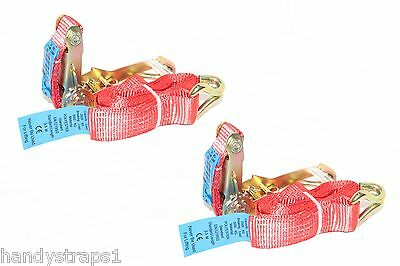 2 X 6 meter x 50mm Red  Ratchets Tie Down Straps  5 tons Lorry Lashing