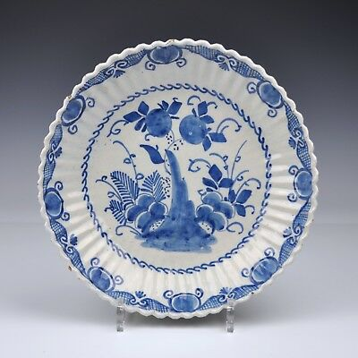 "A Delft Blue And White 18th Century Saucer Dish With ""A Lobbed Rim"""