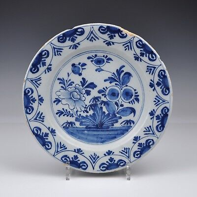 A Delft Blue And White 18th Century Plate With Floral Design