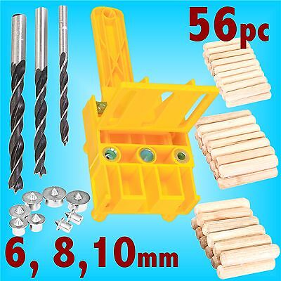 56pc Wood Dowel Bit Set Jig 6 8 10mm Drill Centre Pins E L T Joint Dowelling