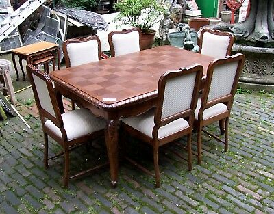 Louis XV Style French Carved Oak Extending Dining Table + 6 Chairs - (CONDTC001)