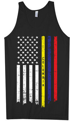 Colombia Faded Distressed Flag Colombian Country Pride Mens Tank Top