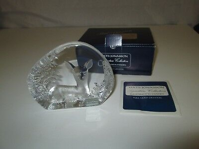 Mats Jonasson Signature Collection Full Lead Crystal DEER Paperweight Made Swede