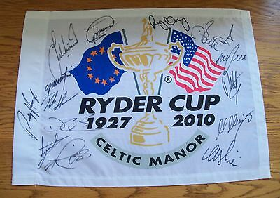 Ryder Cup 2010 Celtic Manor Pin Flag Signed By All 14 European's AFTAL/UACC RD