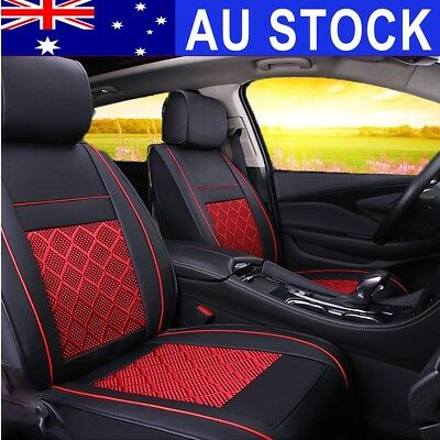 AU PU Leather Deluxe Auto Car 5-Seat Seat Cover Mess Front Full Cushion Mat Set