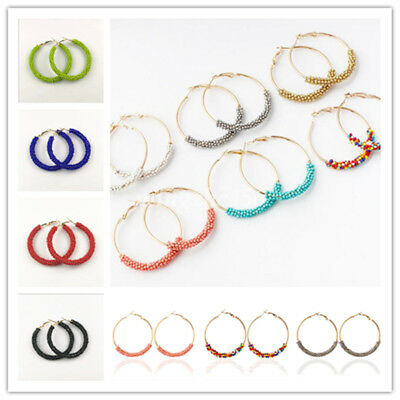 Fashion Handmade Seed Beads Boho Hoop Round Earrings Ear Stud For Women Jewelry