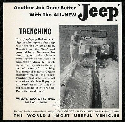 1955 Jeep CJ Universal with trencher machine photo vintage trade ad