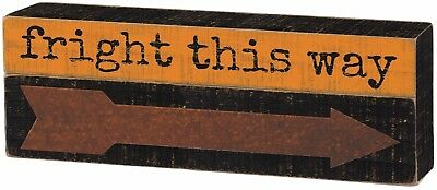 "🎃NEW!~WOOD SLAT SIGN~""Fright this way""~Halloween Arrow~Shelf Sitter/Wall Art"