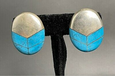 Sterling Silver & Turqoise Earrings Cii Mexico