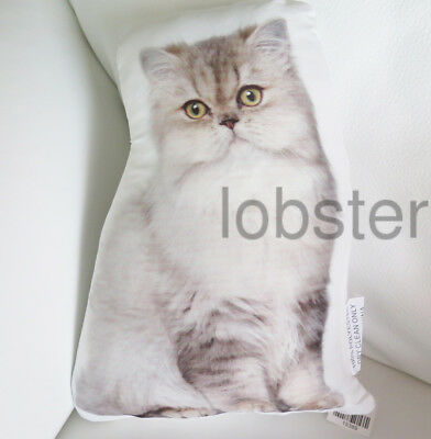 """CAT PILLOW Ivory/White Yellow Eyes Persian Photograph on fabric 14"""" zipper cover"""