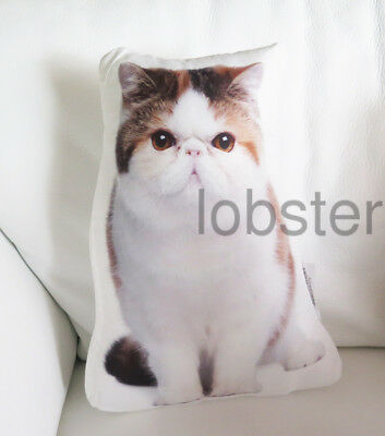 """CAT PILLOW Mostly White Calico Rust Black Photograph on fabric 14"""" zipper cover"""