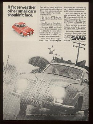 1968 Saab coupe red car photo vintage print ad