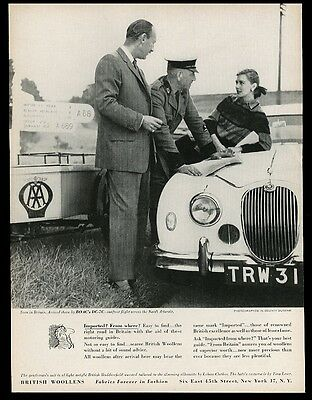 1957 Jaguar car photo British Woollens print ad