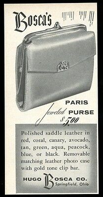 1955 Hugo Bosca leather jeweled Paris Purse photo vintage print ad