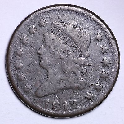1812 Classic Head Large Cent Penny CHOICE VF FREE SHIPPING E416 LQ