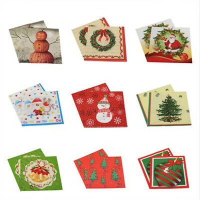 20pcs Christmas Party Paper Napkin Paper Merry Christmas Party Table Decor Hot