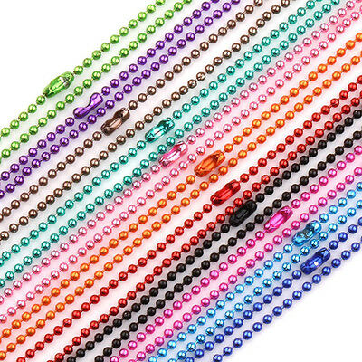 Lots 2/5/20x Ball Metal 2.4mm Bead Chain Necklace Jewelry Making Finding 12Color