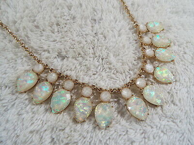CHARMING CHARLIE Opal-Iridescent Crumple Cabochon Scoop Necklace (A5)