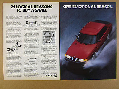 1986 Saab 900 Turbo '21 Logical Reasons to Buy' red car photo vintage print Ad