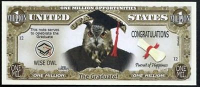SET of 2 WISE OWL GRADUATION Million Dollar Novelty Bills NEW in Sleeves