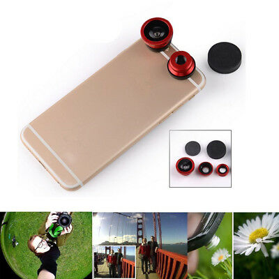 3in1 Lens + Wide Angle + Macro Clip On Fisheye Camera For Mobile Cell Phone 5PCS