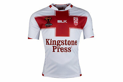 BLK England Rugby League 2017 World Cup S/S ReplicaRugby Shirt Top Sports