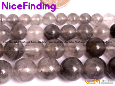 """Natural Gray Cloudy Quartz Crystal Round Stone Beads For Jewelry Making Beads15"""""""