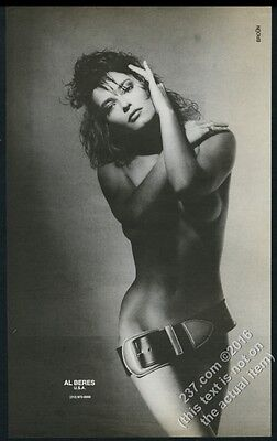 1985 sexy woman BIG photo Al Beres belt fashions vintage print ad
