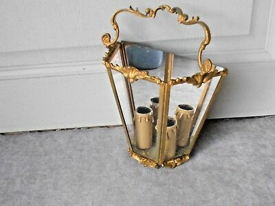 Vintage french bronze & glass Lantern , 2 lights hallway