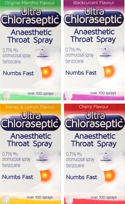 Ultra Chloraseptic Anaesthetic Spray Numbs Throat Fast Multi Flavour - 6+ Years