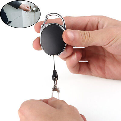 Metal Retractable Key Chain Card Badge Holder Steel Recoil Ring Pull Belt Clip A