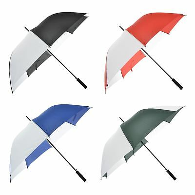 8 Panel Auto Open Striped Golf Umbrella Drizzles Windproof Spring Shaft