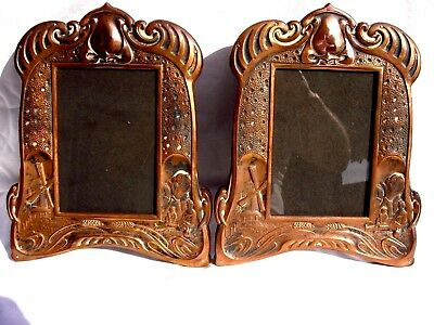 Pair of Large Copper Art Nouveau Photograph Frames.