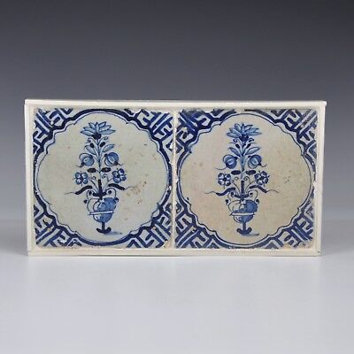 """A Set 17th Century Delft Blue And White Tiles With """"Flowerbasket"""""""