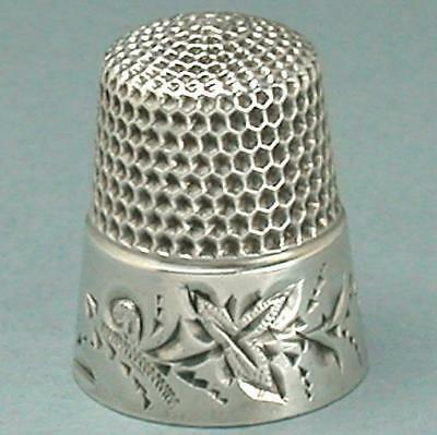 Antique Sterling Silver Folk Art Leaves Thimble by Waite, Thresher Co. * C1880s