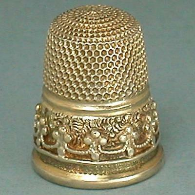 Rare Antique English Gilded Sterling Silver Child's Thimble * Hallmarked 1877