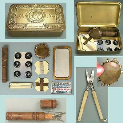 Antique Brass Queen Mary Souvenir Christmas Box / Sewing Box * Dated 1914
