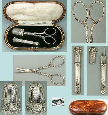 Antique Leather Cased Silver Sewing Set * French Hallmarks * Circa 1890s